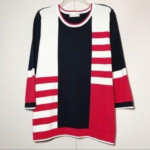 CJ Banks Patriotic Fine Gauge Tunic Sweater